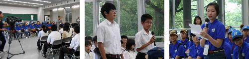 ヨンジョン中学校1年生44名と文化交流を行う。